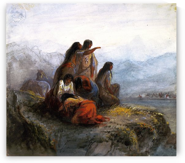 Indian women watching a battle by Alfred Jacob Miller