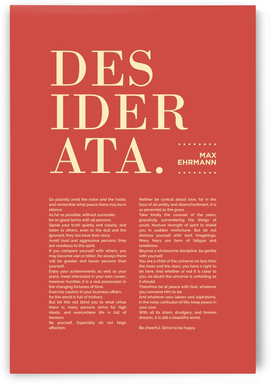 Desiderata - Max Ehrmann - Typographic Print - Literary Poster 10 by Studio Grafiikka
