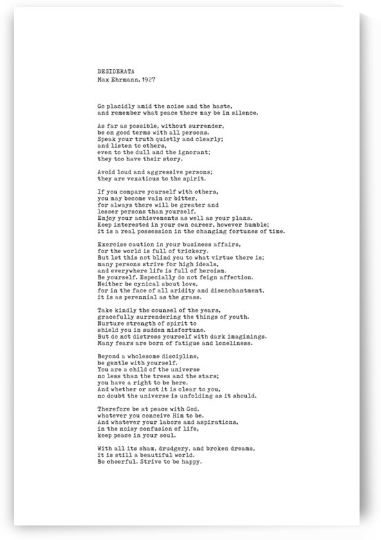 Desiderata by Max Ehrmann - Typewriter Print 1 - Go Placidly Poem by Studio Grafiikka