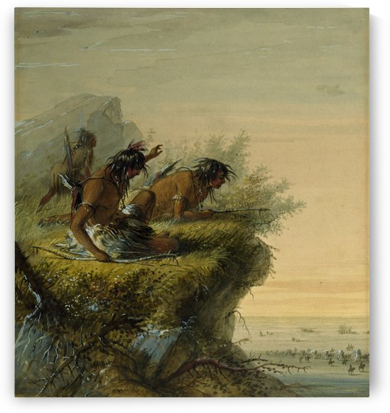 Pawnee Indians watching the Caravan by Alfred Jacob Miller
