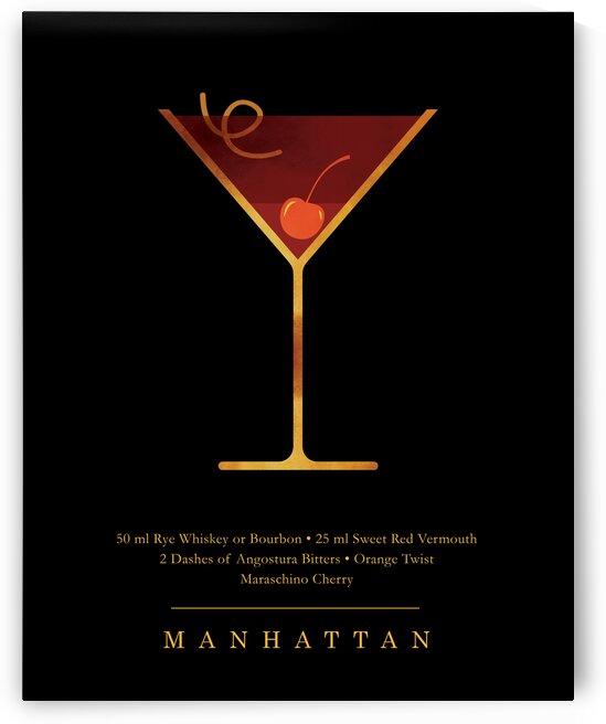 Manhattan - Classic Cocktail - Minimal Lounge Art by Studio Grafiikka