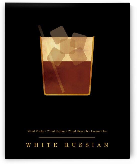 White Russian - Classic Cocktail - Minimal Lounge Art by Studio Grafiikka