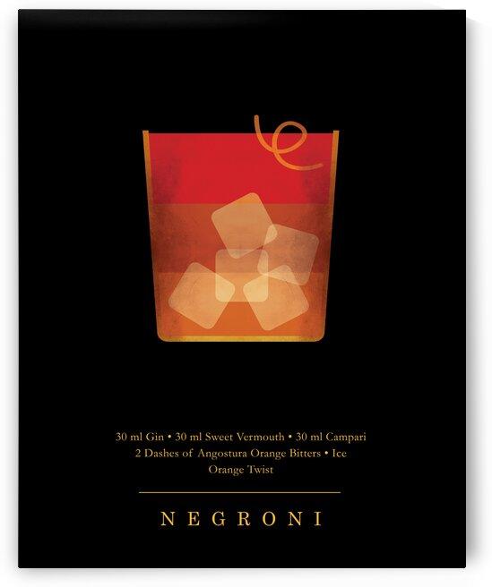 Negroni - Classic Cocktail - Minimal Lounge Art by Studio Grafiikka