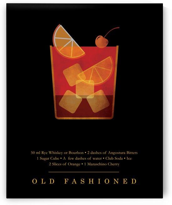 Old Fashioned - Classic Cocktail - Minimal Lounge Art by Studio Grafiikka
