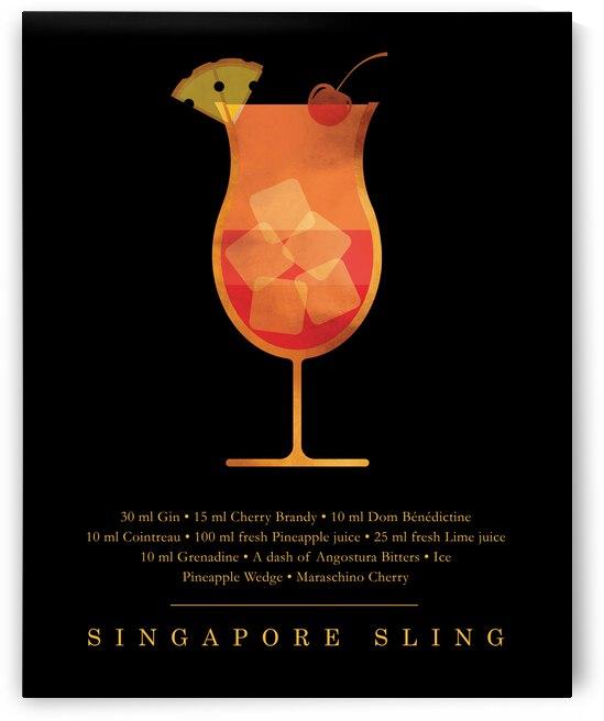 Singapore Sling - Classic Cocktail - Minimal Lounge Art by Studio Grafiikka