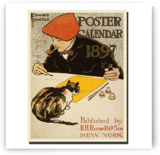 Cat Calendar 1897 by VINTAGE POSTER