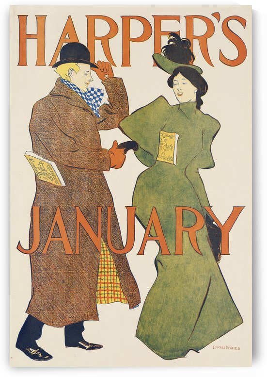 Harpers January by VINTAGE POSTER