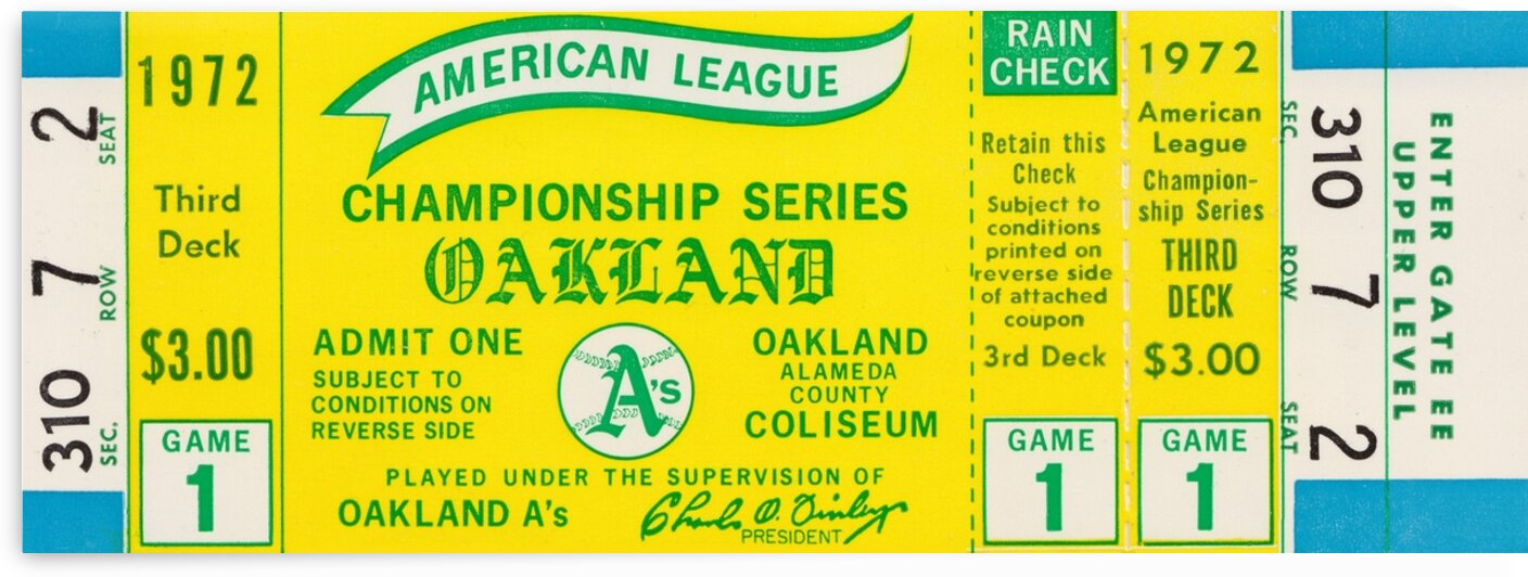 1972 Oakland Athletics American League Championship Ticket Canvas by Row One Brand