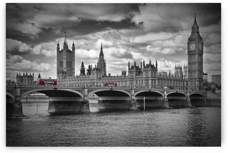 LONDON Houses of Parliament and Red Buses by Melanie Viola