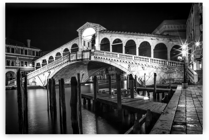 VENICE Rialto Bridge at Night black and white by Melanie Viola