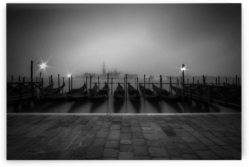 VENICE Gondolas on a foggy morning by Melanie Viola
