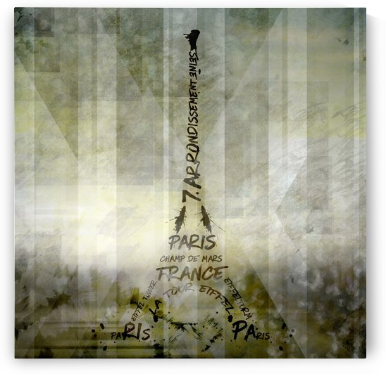 Digital-Art PARIS Eiffel Tower | Geometric Mix No.1 by Melanie Viola