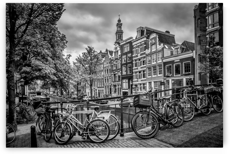 AMSTERDAM Flower Canal black and white by Melanie Viola