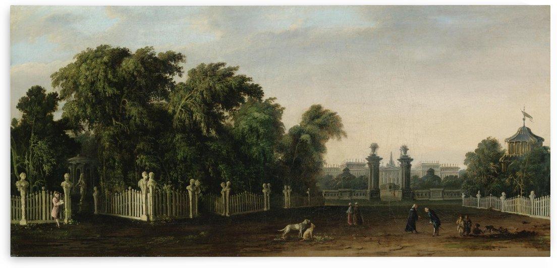 Veduta di una villa con parco e figure by Francesco Zanin