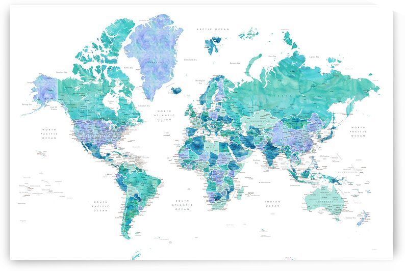 Aquamarine and blue detailed world map with cities Caribbean Waters by blursbyai