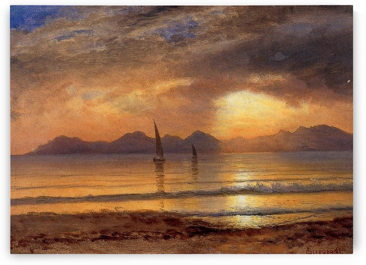 Sunset Over a Mountain Lake by Albert Bierstadt