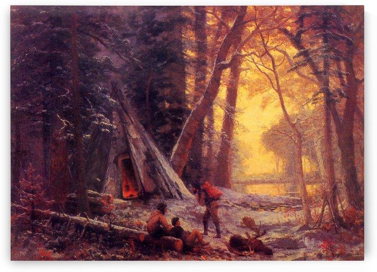 Moose hunters camp by Albert Bierstadt