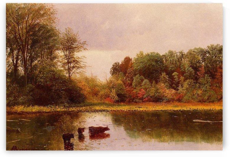 Cows Watering in a Landscape by Albert Bierstadt