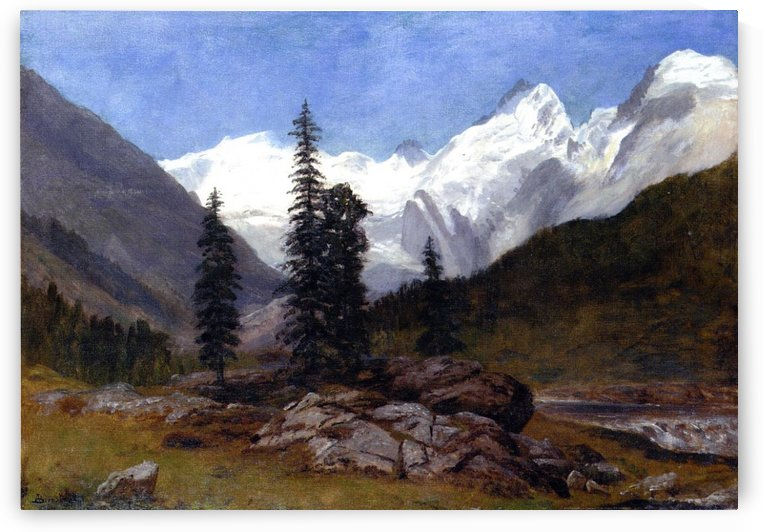 Rocky mountain with snow by Albert Bierstadt