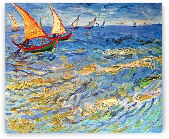 The sea at Saintes-Maries by Van Gogh by Van Gogh