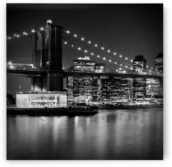 Night Skyline MANHATTAN Brooklyn Bridge bw by Melanie Viola