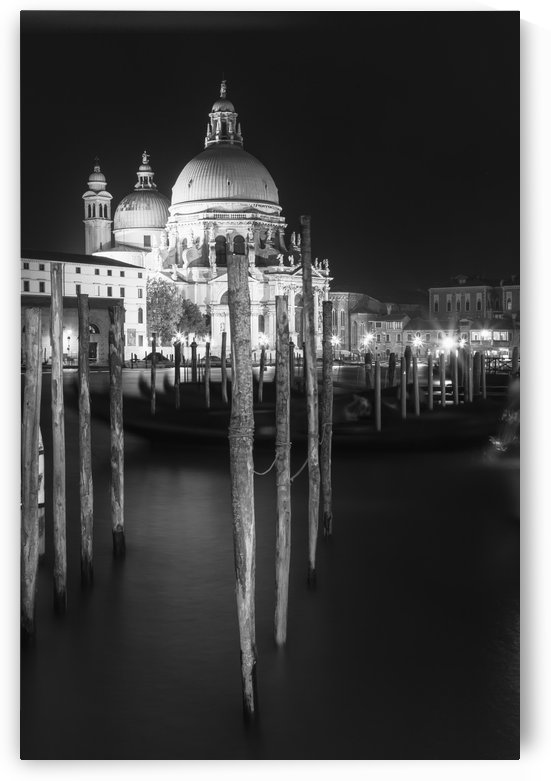 VENICE Santa Maria della Salute in black and white by Melanie Viola