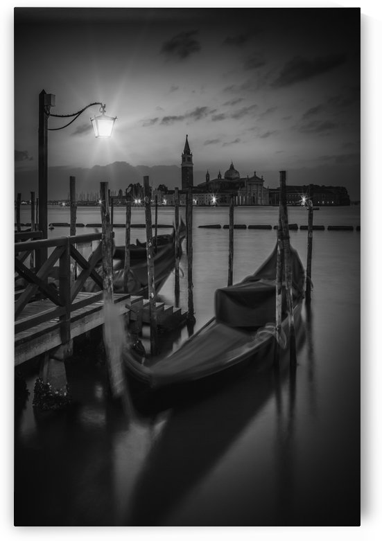 VENICE Gondolas in black and white by Melanie Viola