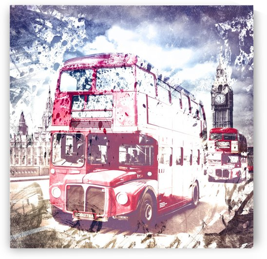 City-Art LONDON Red Buses on Westminster Bridge by Melanie Viola