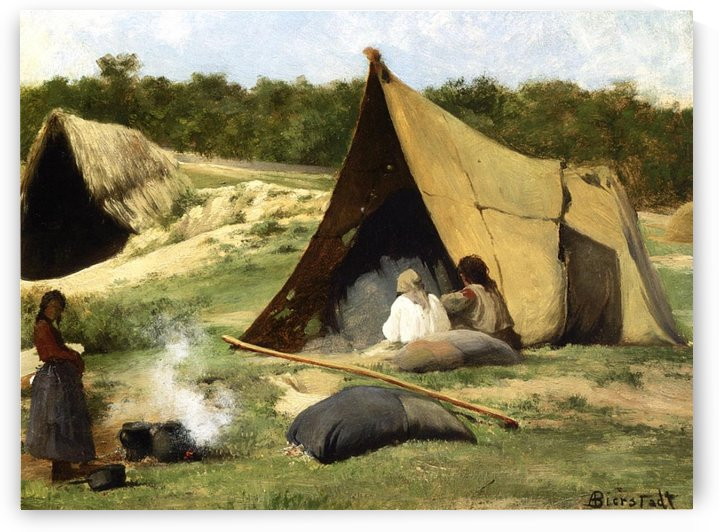 Indian camp, 1859 by Albert Bierstadt