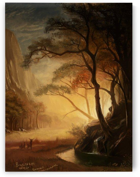 Deers at the sunset by Albert Bierstadt