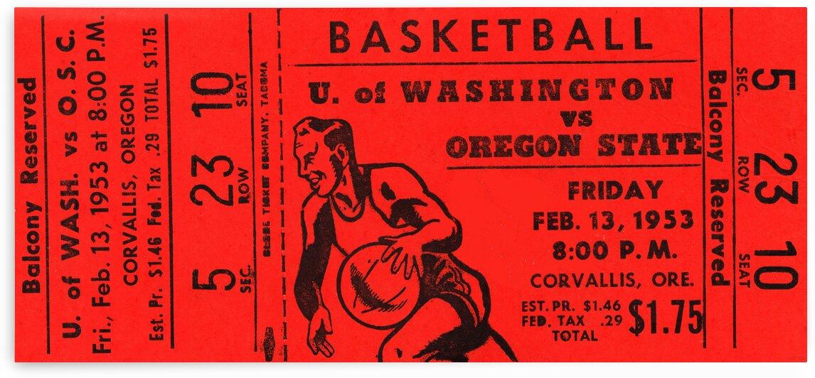 1953 Oregon State vs. Washington Basketball Ticket Canvas by Row One Brand