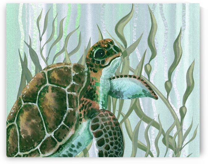 Watercolor Giant Turtle In The Seaweed Under Water II by Irina Sztukowski