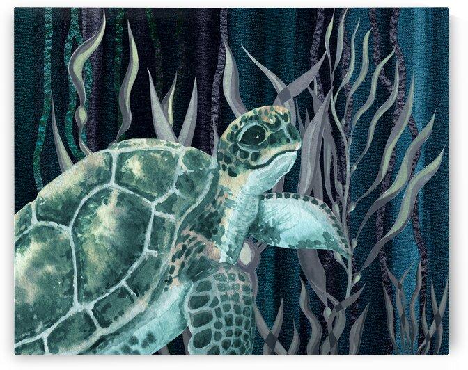 Watercolor Giant Turtle In The Seaweed Under Water V by Irina Sztukowski
