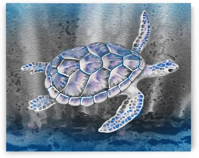 Watercolor Giant Turtle In Abstract Seaweed And Water VIII by Irina Sztukowski