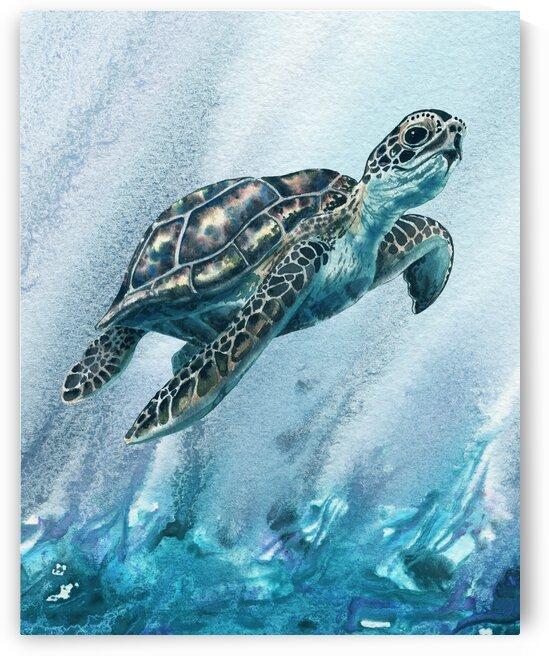 Watercolor Giant Turtle In Abstract Seaweed And Water XI by Irina Sztukowski