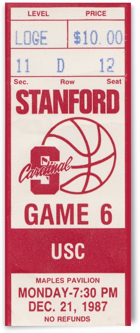 1987 Stanford vs. USC Basketball Ticket Poster by Row One Brand
