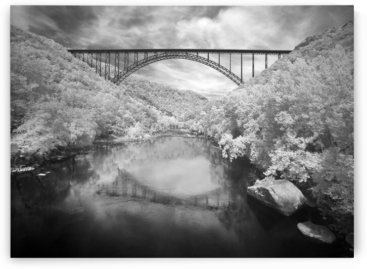 Infrared Camera View of the New River Gorge Bridge in Fayette County  West Virginia. by 7ob