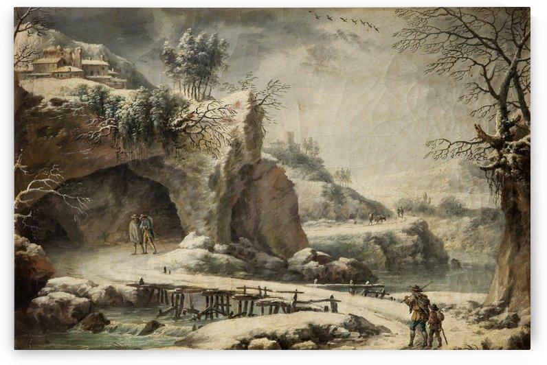 A frozen river landscape with figures by Francesco Foschi