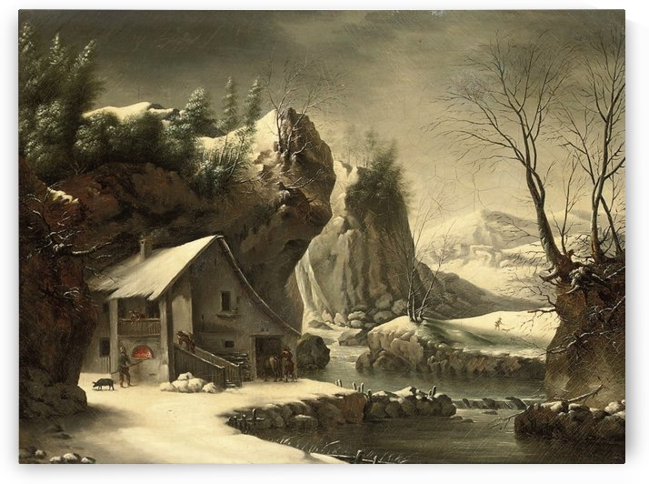 An extensive winter landscape with a peasant by a cottage, mountains beyond by Francesco Foschi
