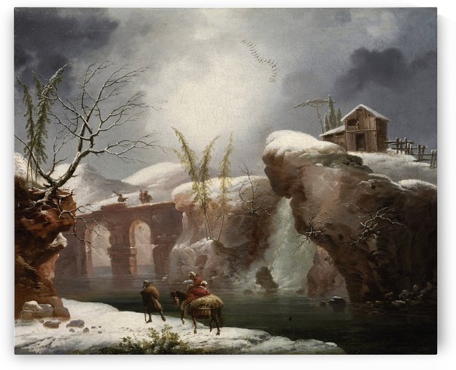 A winter landscape with travellers by a river by Francesco Foschi