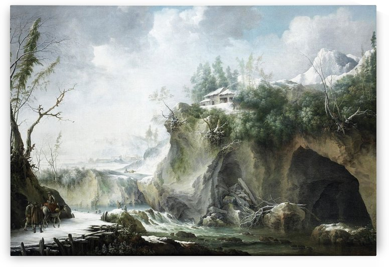 A River Landscape in Winter, With Travellers on a Snowy Path by Francesco Foschi