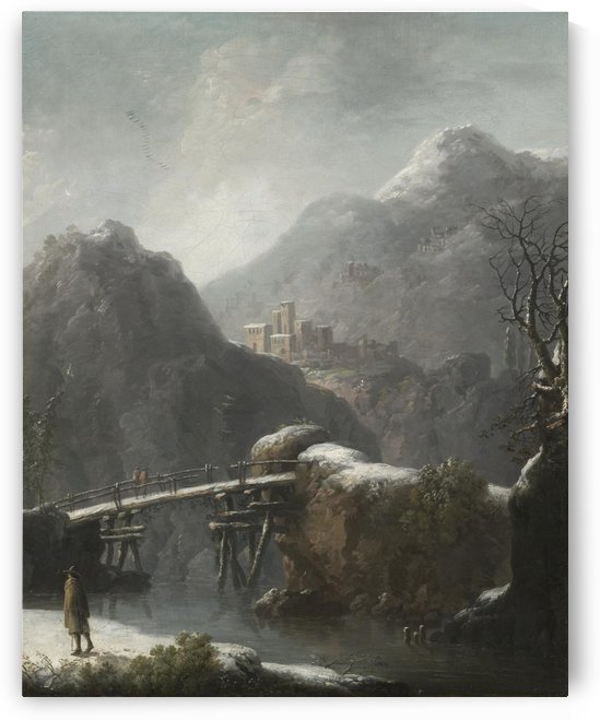 A winter landscape with travellers before a bridge, a Hilltop Town beyond by Francesco Foschi