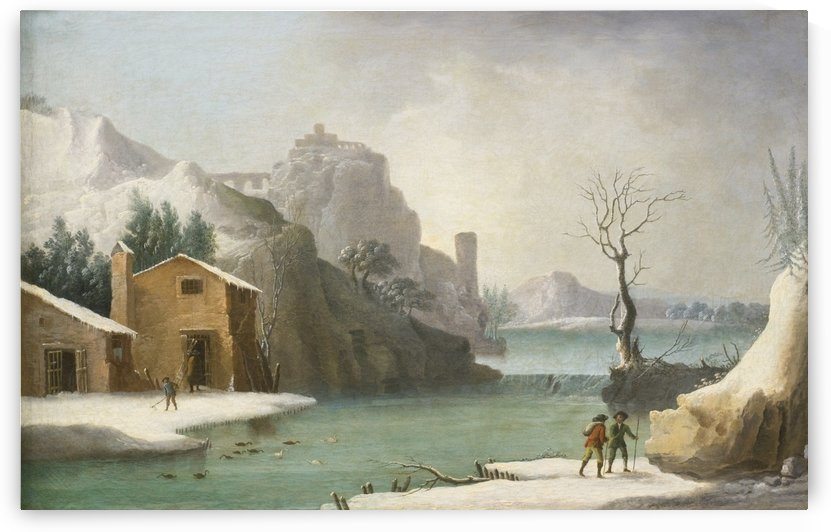 A winter landscape with travellers along a river, a Hilltop Town beyond by Francesco Foschi