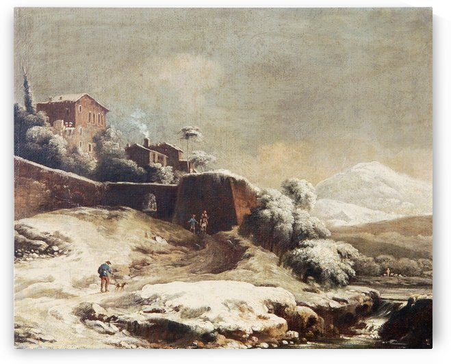 Winter landscape with village and mountains beyond by Francesco Foschi