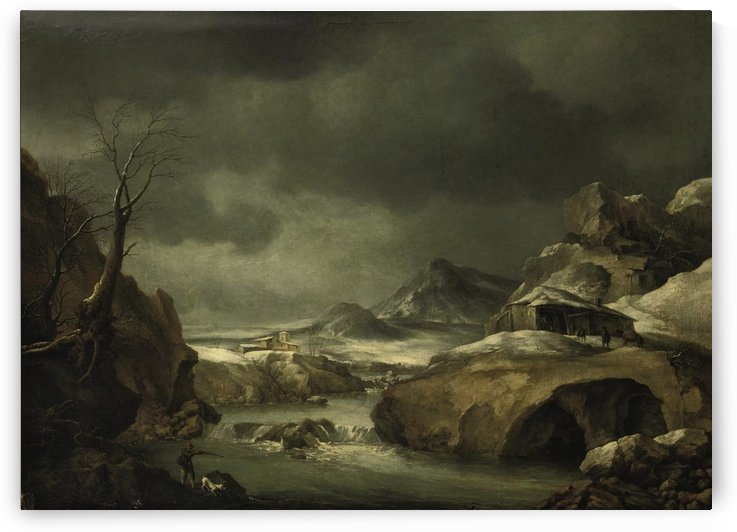 A mountainous winter landscape with a traveller arriving at a cottage by Francesco Foschi
