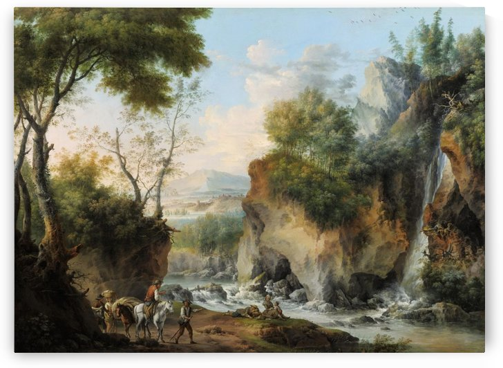 Landscape with figures along a river by Francesco Foschi