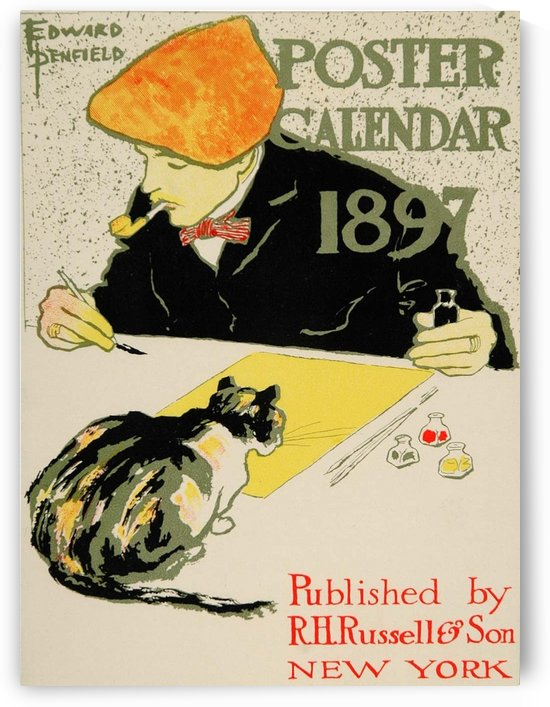 1913 Calendar Artist Cat Edward Penfield Mini Poster by VINTAGE POSTER
