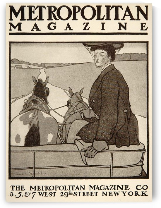 1913 Metropolitan Horse Carriage Cover Edward Penfield Mini Poster by VINTAGE POSTER