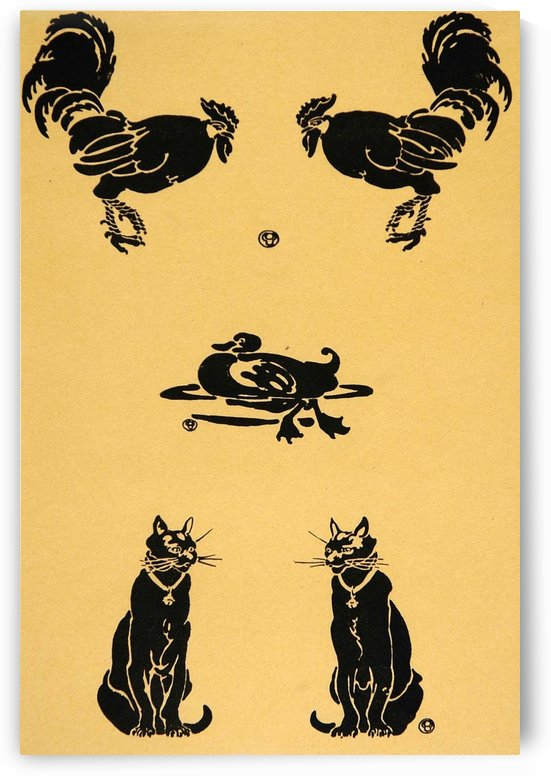 1913 Rooster Cock Duck Cats Edward Penfield Mini Poster by VINTAGE POSTER