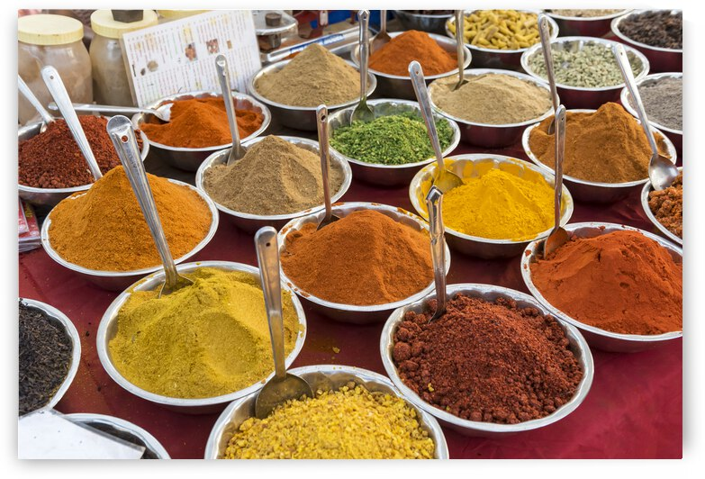 Colorful spices at Indian Market by Petr Svarc